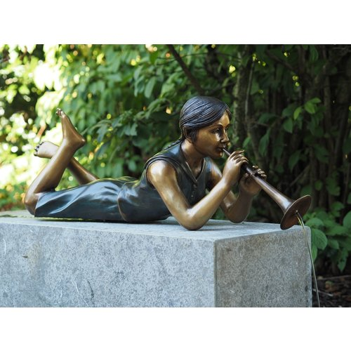 Eliassen Syringe figure bronze girl with whistle