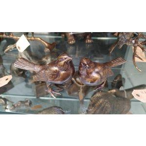 Bronzen setje van 2 mussen