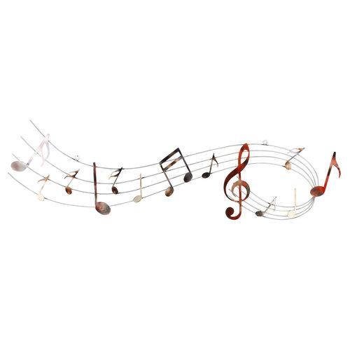 Muurdecoratie 3d muziekbalk met sleutel 120cm