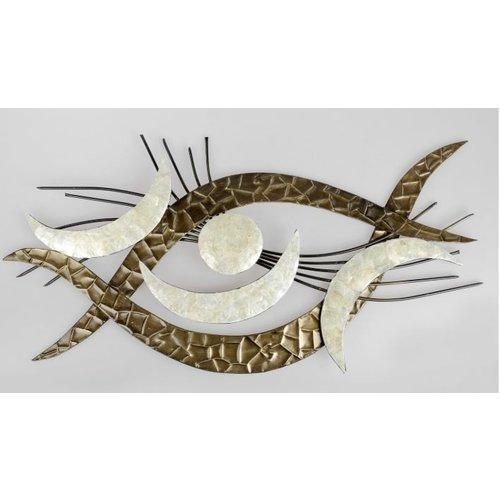 Wanddeko Auge Silber