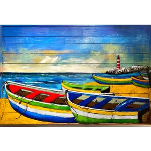 Painting metal 3d Boats on the beach