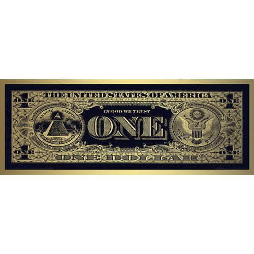 Glass print Dollar bill gold