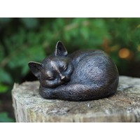 Sculpture cat sleeping bronze