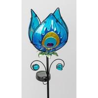 Gartenstecker Blume blau mit Solar LED Lampe