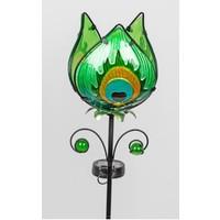 Gartenstecker Blumengrün mit Solar-LED-Lampe