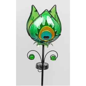 Garden plug flower green with solar LED lamp