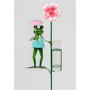 Regenmesser Frosch rosa Blume