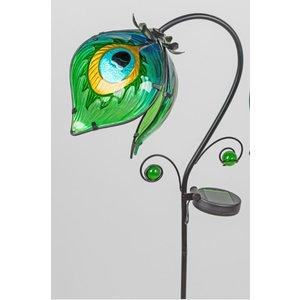 Gartenstecker hängende Blume 1 grün mit LED-Lampe