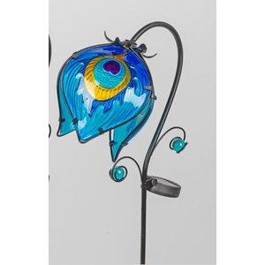 Gartenstecker hängende Blume 2 blau mit LED-Lampe