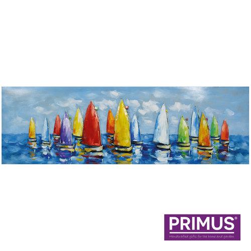 Painting metal 3d sailing boats at sea 150x50cm
