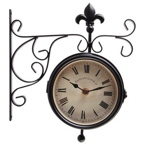 Station clock with thermometer 2 sided for outside