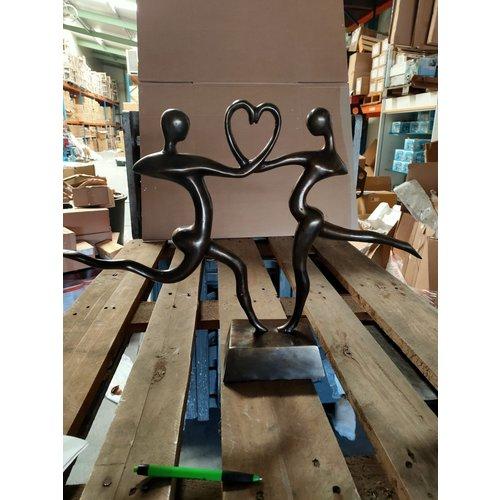 Beeld brons dansend  hart 55x40cm hoog