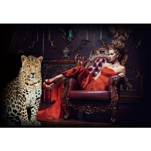 Glasschilderij Rode vrouw met panter