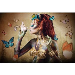 Glasschilderij Vlindervrouw 110x160cm.