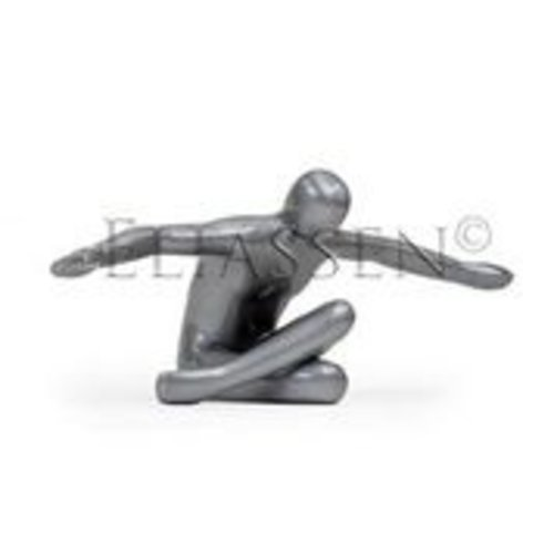 Flying man silver gray