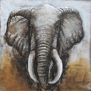Painting 3d Head of Elephant 100x100cm
