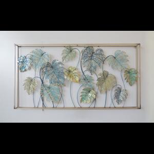 Wanddeko Metall Blätter im Rahmen 138cm