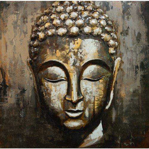 Metaal 3d schilderij Boeddha