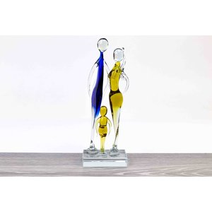 Glass statue Family blue / brown 23 cm.