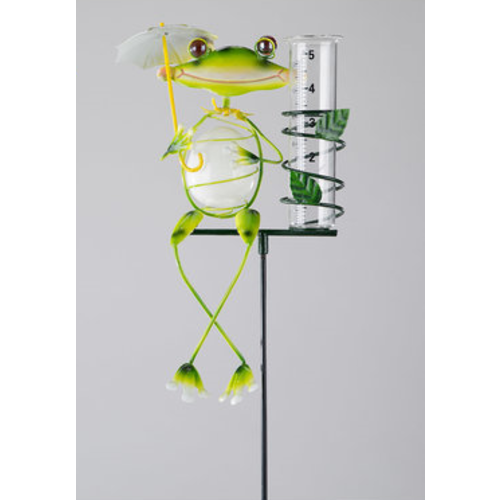 Rain gauge frog umbrella