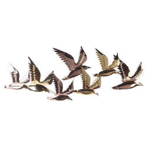 Muurdeco 3d metaal Vogels 110cm gold&copper