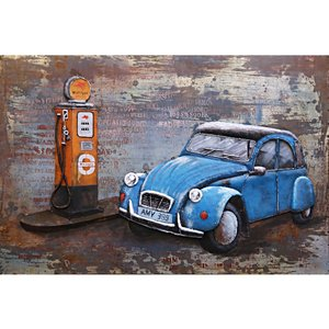 Painting metal Car at Pump 120x80cm