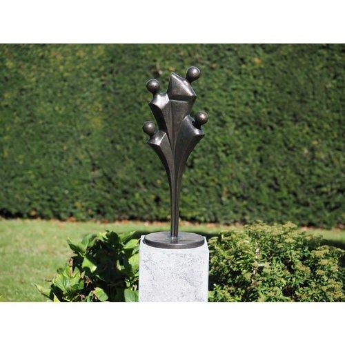 Bronzen beeld familie vier personen