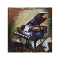 Metalen 3D schilderij Piano