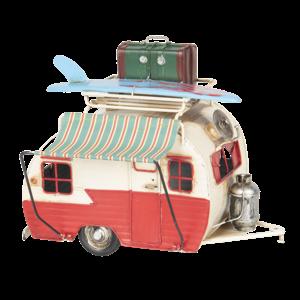 Miniatuur model caravan met luifel
