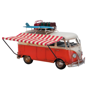 Miniature model bus with awning
