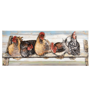 Wall painting chickens 60x150 cm wood