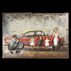 3d schilderij auto en gezin