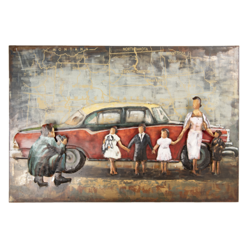 3d painting car and family