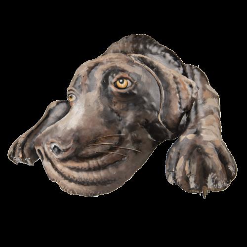 Metalen hond 70x52 cm.