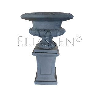 Coupé-Vase auf Säule Grauer Klassiker 101cm