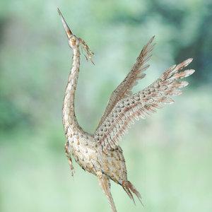 Metalen Kraanvogel zilverkleur 215cm
