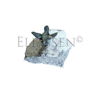 Vogel brons met gespreide vleugels op zwarte woud steen