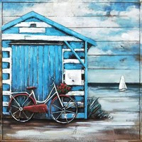 Metal 3D painting on wood Beach house
