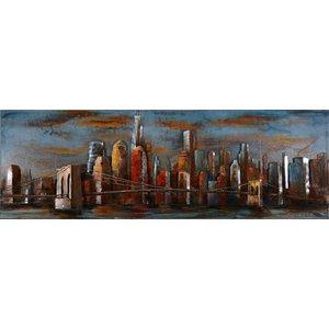 Schilderij 3D metaal moderne skyline 60x180cm