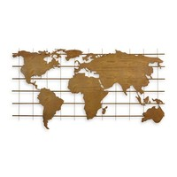 Metal wall decoration world map metal 112cm