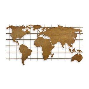 Metalen wanddecoratie wereldkaart metaal 112cm