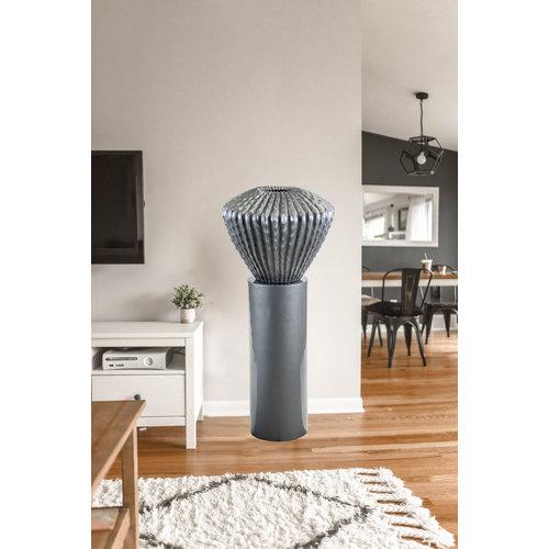 Cactuspot laag  op zuil 80cm  Zilver