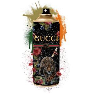 Glasschilderij  Gucci spuitbus met goudfolie 60x80cm