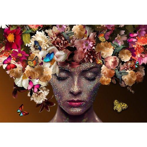Glasschilderij hoofd met bloemen en vlinders 80x120cm
