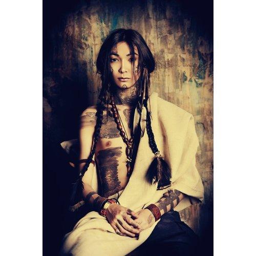 Glasschilderij Indian woman groot 110x160cm