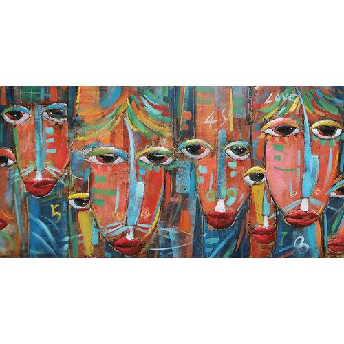 Schilderij 3d Maskers 140x70cm