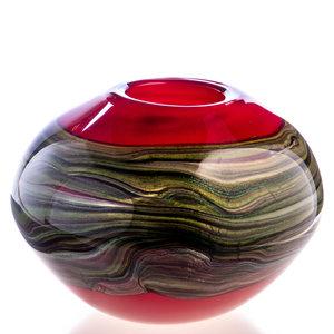 Glass ball vase red