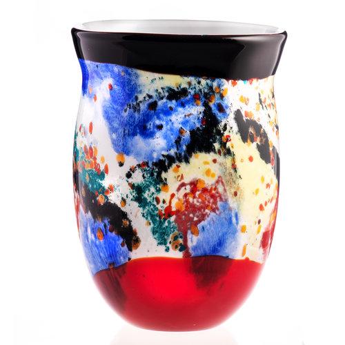 Glazen vaas zwart-rood   50cm