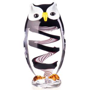 Glass object Owl black / white