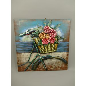 Malerei 3d Damenfahrrad mit Blumenstrauß